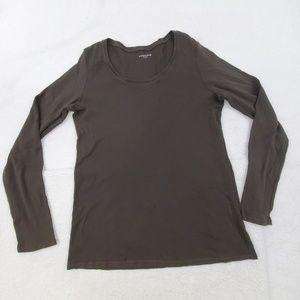 Eileen Fisher Tee L Brown Solid Scoop Neck Solid L